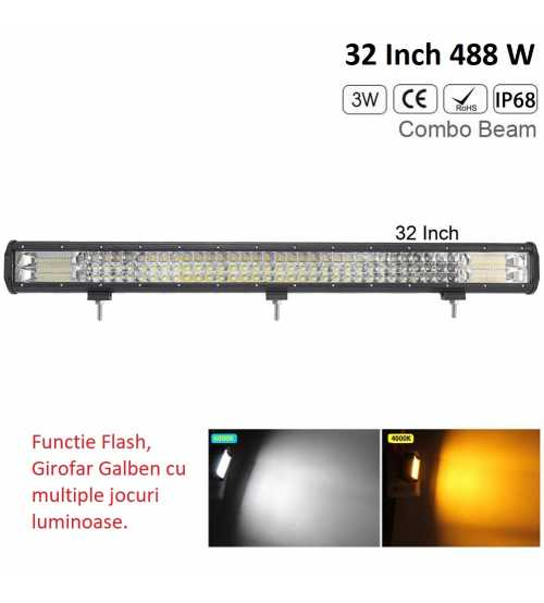 Led bar 432 w , GIROFAR GALBEN 12/24 V Prinderi incorporate 82 cm