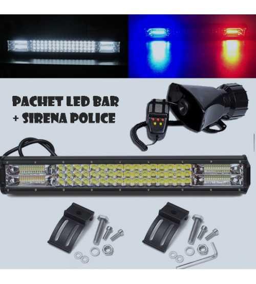 Pachet Sirena Police + Led Bar Police 52 CM