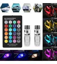 Bec pozitie RGB CU TELECOMANDA - T10, 6 LED SMD 5050 RGB 12V (pret/set) T10
